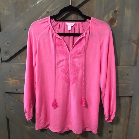 Lilly Pulitzer Tops - Lilly Pulitzer Embroidered Blouse Size XS